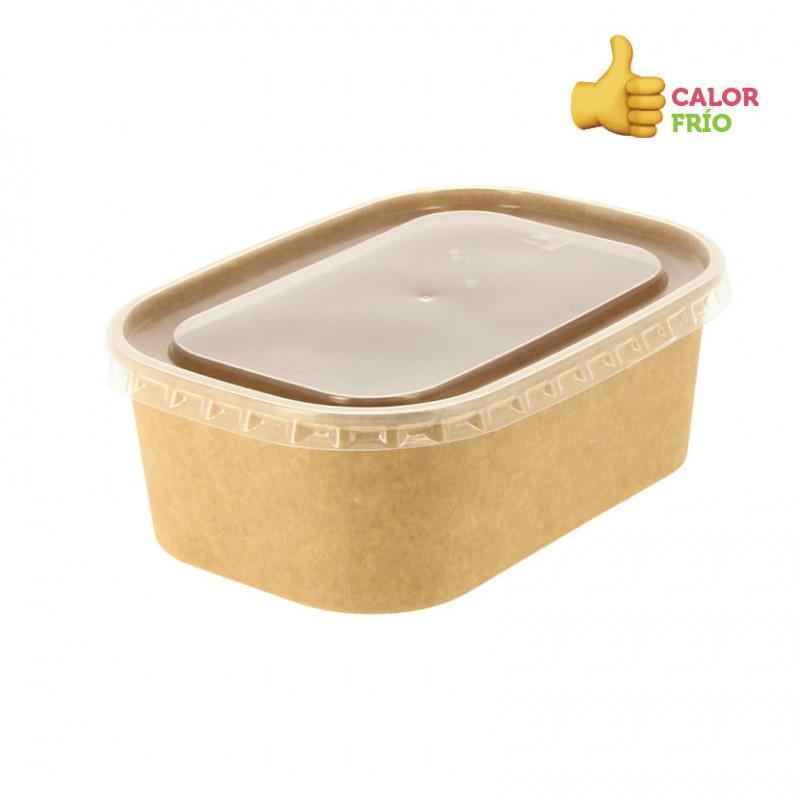 Envase Rectangular P.P. translucido 600 cc + tapa 163x194x35mm